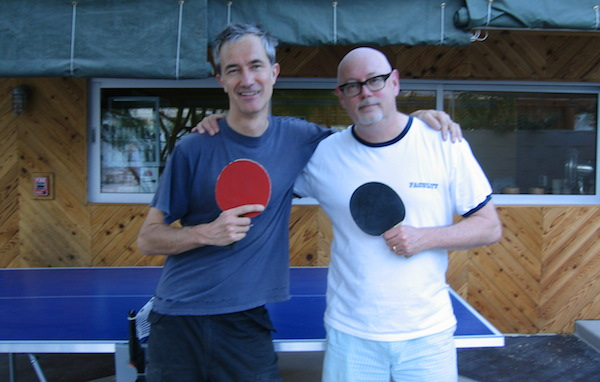 Geoff Dyer and Mark Haskell Smith. One of them is holding a dry paddle.