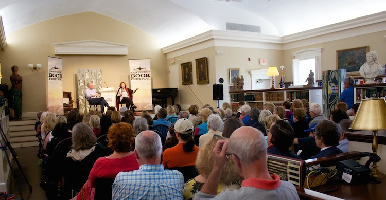 Azar Nafisi in front of a packed house.