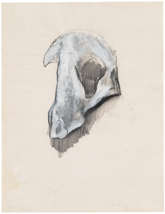 Jay DeFeo, Untitled (Bone series) [Estate No. E1943], 1975, graphite, oil pastel, and acrylic on paper, 11 X 8 1/2 inches, courtesy: The Jay DeFeo Trust
