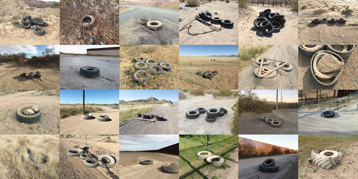 Richard Misrach, Tire drags used along the border from the Pacific Ocean to the Gulf of Mexico, 2013-15, from Richard Misrach: Border Cantos (Aperture, 2016)