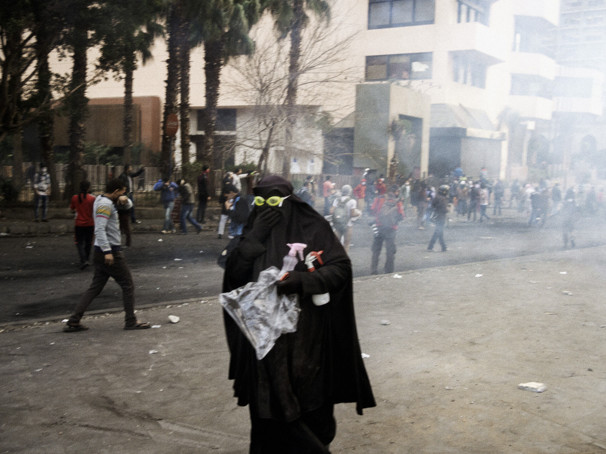 Cairo, Egypt. January, 2013. A woman involved in clashes near the Intercontinental Hotel.
