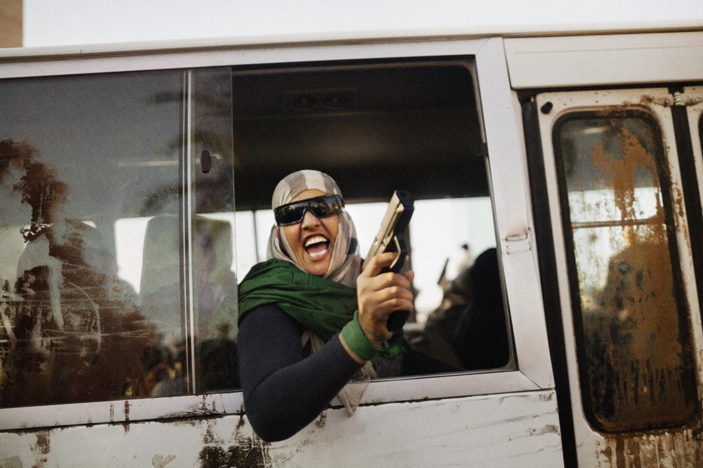 Tripoli, Libya. February, 2011. Qaddafi supporter.