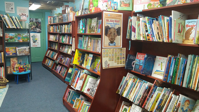 kids area chapter books and picture books