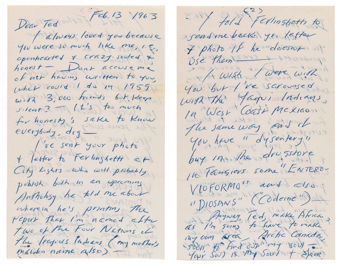 Letter sent by Jack Kerouac to Ted Joans