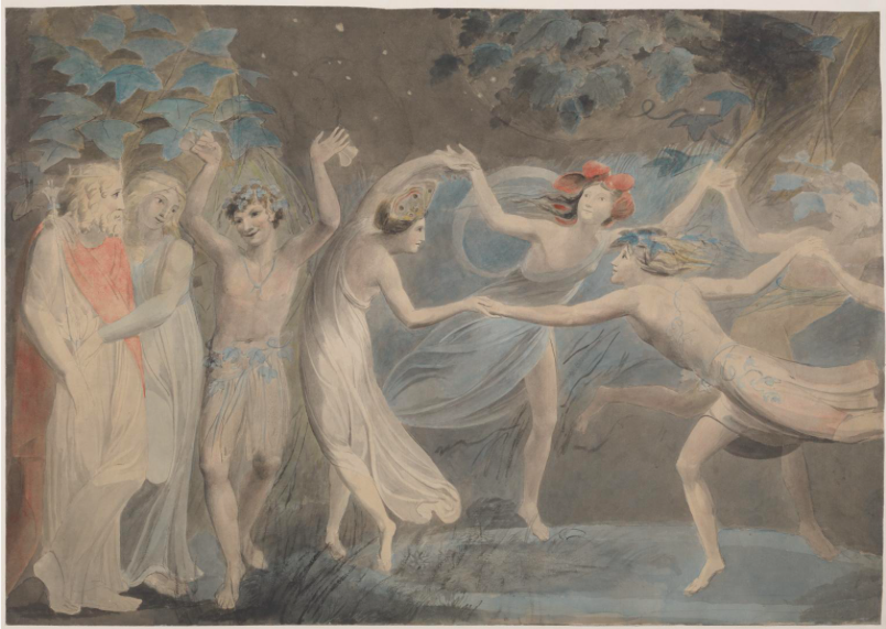 """Oberon, Titania and Puck with Fairies Dancing,"" by William Blake, c.1786"