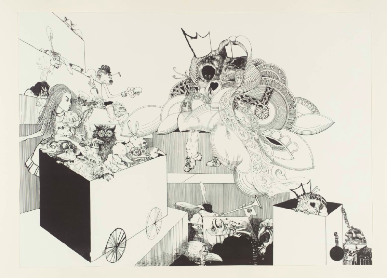 """Courtroom Scene from Alice in Wonderland,"" by Ralph Steadman, 1967"