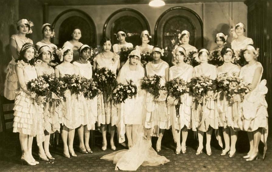 Yolande Du Bois and many bridesmaids