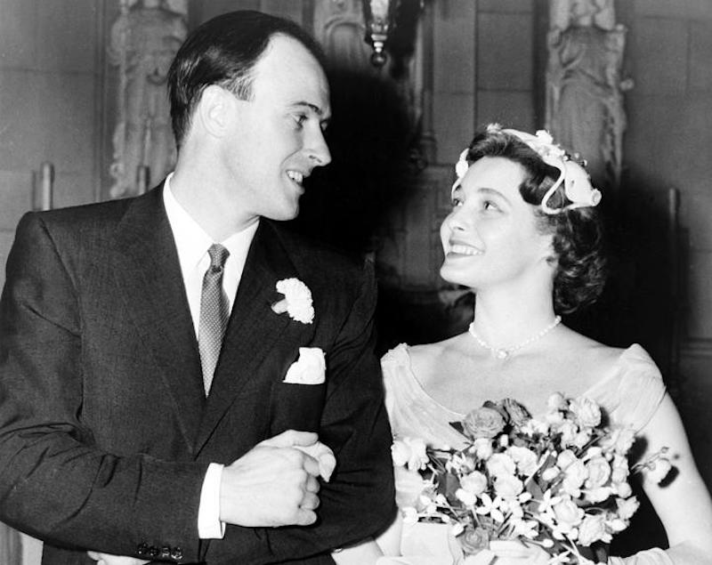 Roald Dahl and Patricia Neal on their wedding day