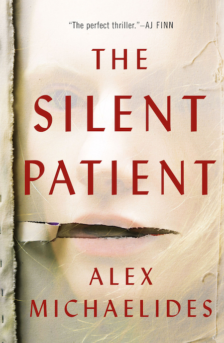 Alex Michaelides, The Silent Patient, Celadon Books; design by Anne Twomey (February 5, 2019)