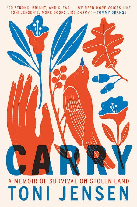 "<strong>Toni Jensen, <a href=""https://bookshop.org/a/132/9781984821188"" target=""_blank"" rel=""noopener""><em>Carry</em></a>; cover design by Emily Mahon, art by Carmi Grau (Ballantine Books, September)</strong>"