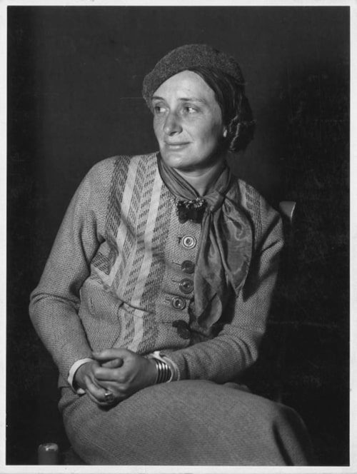 Dorothea Lange circa 1930s, photographer unknown, from the Oakland Museum of California's Dorothea Lange Collection
