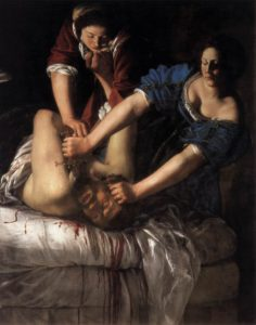 Artemisia Gentileschi, Judith beheading Holofernes, 1611-12, oil on canvas, 159 x 126 cm (painting has been trimmed) (Museo Nazionale di Capodimonte, Naples)